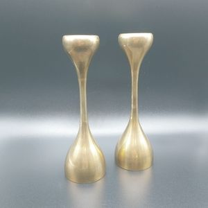 "Pair Vintage 8"" Brass Candlesticks Mod/Deco"